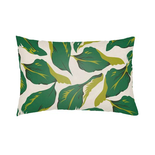 Artistic Weavers Lolita Lotus Kelly Green and Lime Green 14 x 24 In. Pillow with Poly Fill