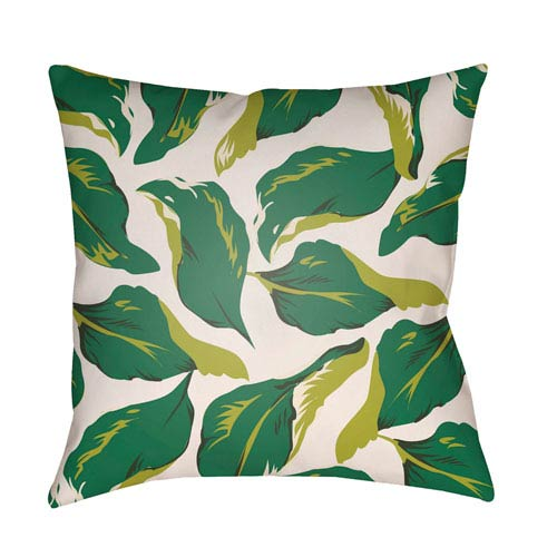 Artistic Weavers Lolita Lotus Kelly Green and Lime Green 20 x 20 In. Pillow with Poly Fill