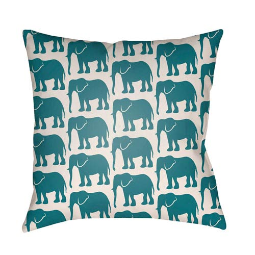 Artistic Weavers Lolita Elephant Teal and Ivory 22 x 22 In. Pillow with Poly Fill