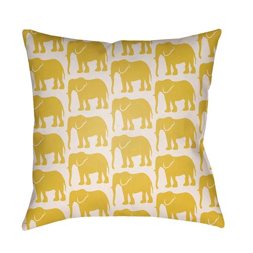 Lolita Elephant Bright Yellow and Ivory 26 x 26 In. Pillow with Poly Fill