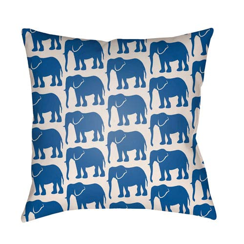 Artistic Weavers Lolita Elephant Royal Blue and Ivory 14 x 24 In. Pillow with Poly Fill