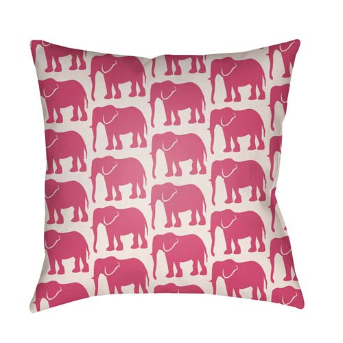 Lolita Elephant Hot Pink and Ivory 16 x 16 In. Pillow with Poly Fill