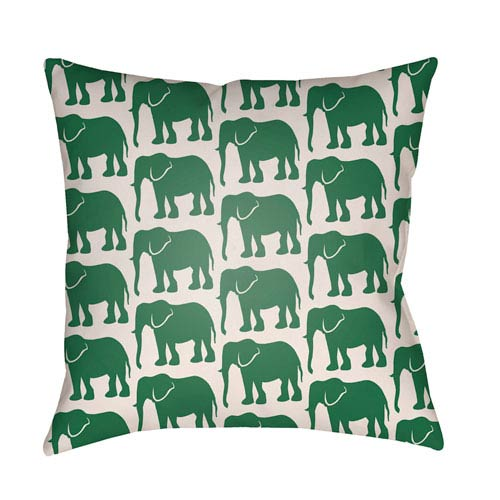 Artistic Weavers Lolita Elephant Kelly Green and Ivory 22 x 22 In. Pillow with Poly Fill