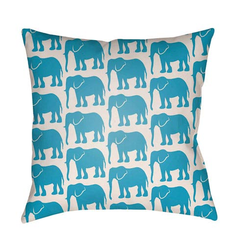 Artistic Weavers Lolita Elephant Aqua and Ivory 22 x 22 In. Pillow with Poly Fill