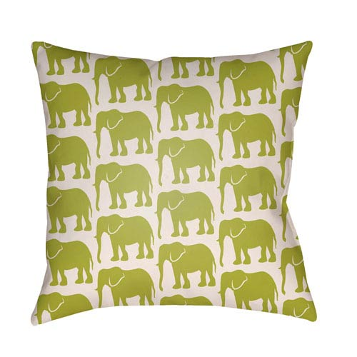 Artistic Weavers Lolita Elephant Lime Green and Ivory 16 x 16 In. Pillow with Poly Fill