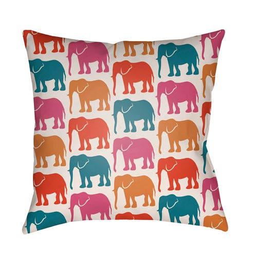 Artistic Weavers Lolita Elephant Teal and Poppy Red 14 x 24 In. Pillow with Poly Fill