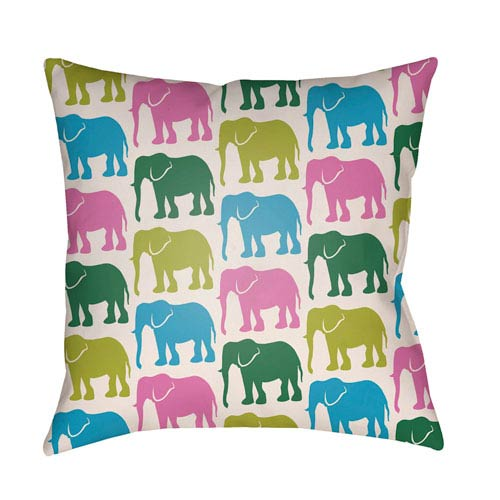 Artistic Weavers Lolita Elephant Fuchsia and Aqua 16 x 16 In. Pillow with Poly Fill