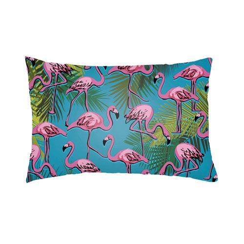 Artistic Weavers Lolita Flamingo Fuchsia and Aqua 18 x 18 In. Pillow with Poly Fill
