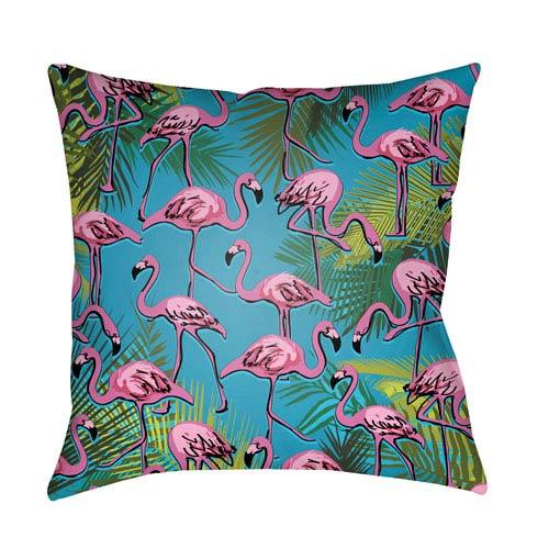 Lolita Flamingo Fuchsia and Aqua 20 x 20 In. Pillow with Poly Fill