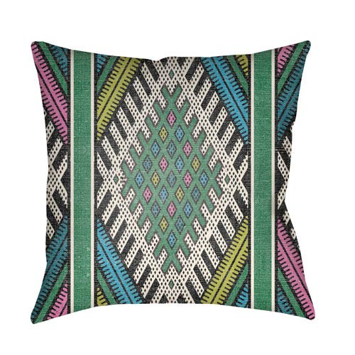 Artistic Weavers Lolita Pratt Kelly Green and Lime Green 20 x 20 In. Pillow with Poly Fill