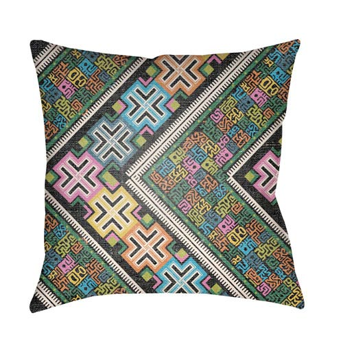 Artistic Weavers Lolita Daffodil Fuchsia and Aqua 20 x 20 In. Pillow with Poly Fill