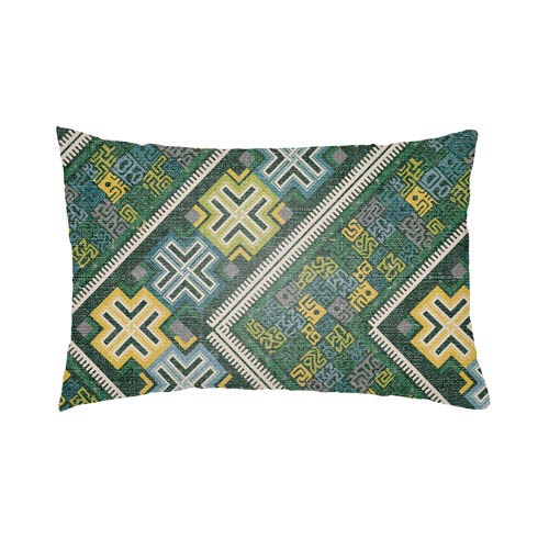 Artistic Weavers Lolita Daffodil Kelly Green and Teal 22 x 22 In. Pillow with Poly Fill