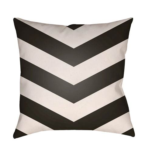 Artistic Weavers Litchfield Chevron Onyx Black and Ivory 18 x 18 In. Pillow with Poly Fill