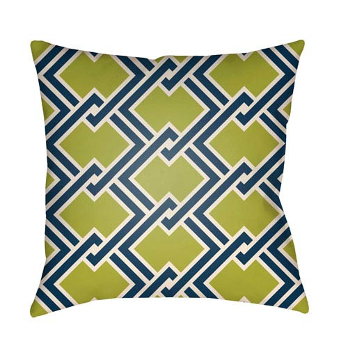 Artistic Weavers Litchfield Cabana Lime Green and Navy Blue 18 x 18 In. Pillow with Poly Fill