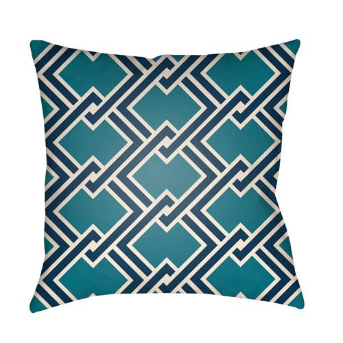 Litchfield Cabana Teal and Navy Blue 18 x 18 In. Pillow with Poly Fill