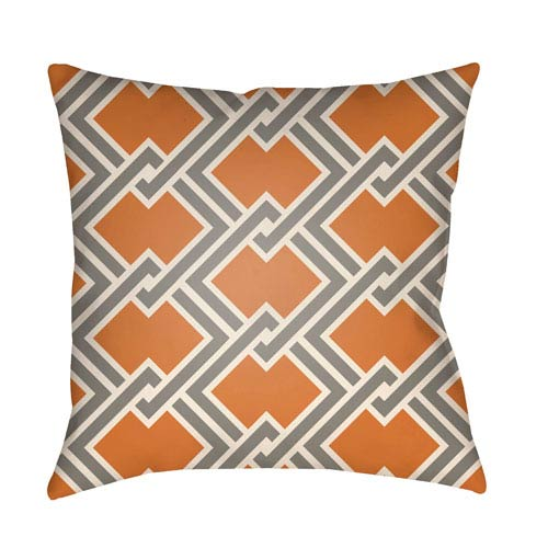 Artistic Weavers Litchfield Cabana Tangerine and Gray 26 x 26 In. Pillow with Poly Fill