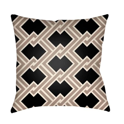 Litchfield Cabana Onyx and Taupe 20 x 20 In. Pillow with Poly Fill