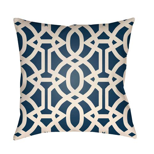 Artistic Weavers Litchfield Massey Navy Blue and Ivory 18 x 18 In. Pillow with Poly Fill