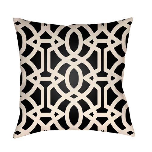 Artistic Weavers Litchfield Massey Onyx Black and Ivory 16 x 16 In. Pillow with Poly Fill