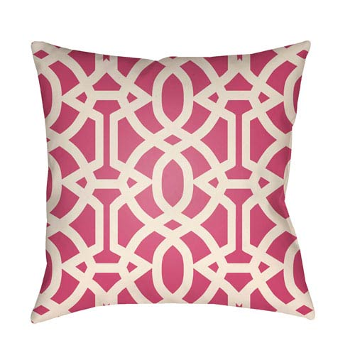 Litchfield Massey Hot Pink and Ivory 16 x 16 In. Pillow with Poly Fill