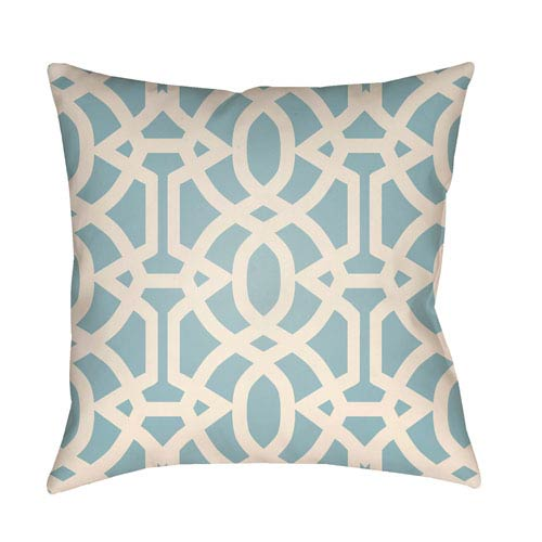 Artistic Weavers Litchfield Massey Light Blue and Ivory 26 x 26 In. Pillow with Poly Fill