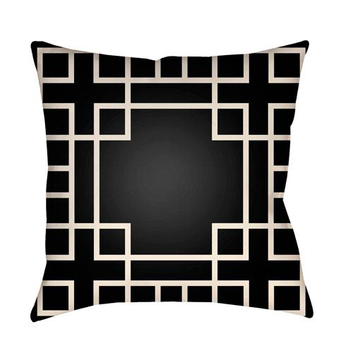 Litchfield Hanser Onyx Black and Ivory 16 x 16 In. Pillow with Poly Fill