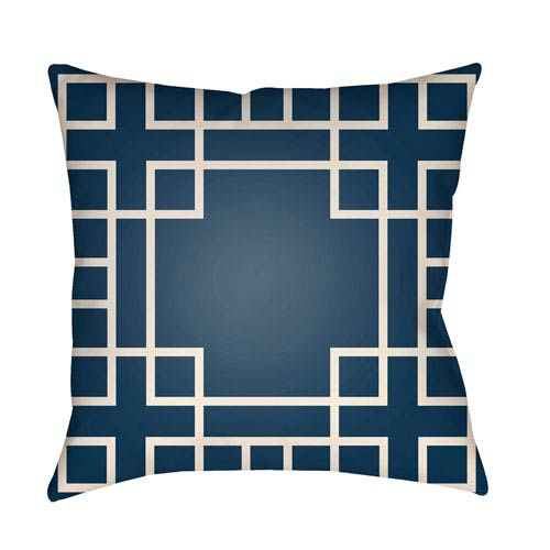 Artistic Weavers Litchfield Hanser Navy Blue and Ivory 26 x 26 In. Pillow with Poly Fill