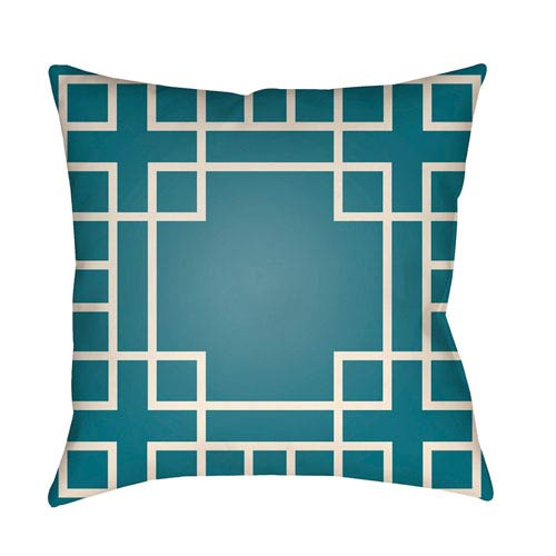 Artistic Weavers Litchfield Hanser Teal and Ivory 20 x 20 In. Pillow with Poly Fill