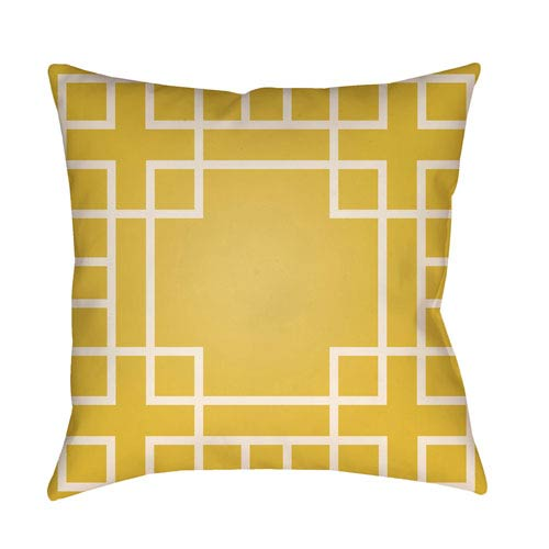 Artistic Weavers Litchfield Hanser Bright Yellow and Ivory 20 x 20 In. Pillow with Poly Fill