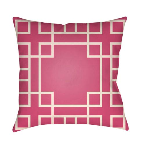 Artistic Weavers Litchfield Hanser Hot Pink and Ivory 26 x 26 In. Pillow with Poly Fill