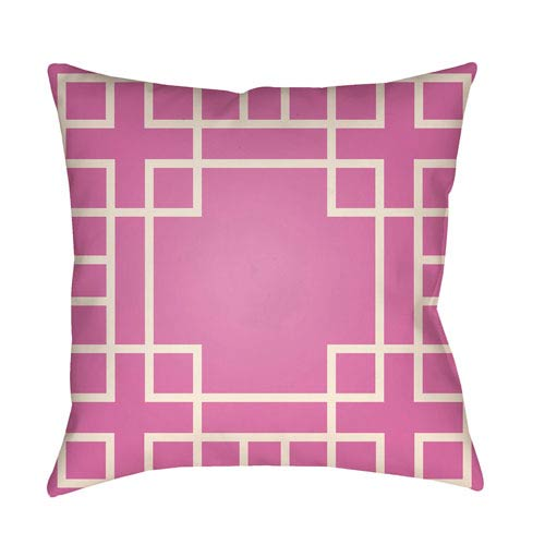 Artistic Weavers Litchfield Hanser Fuchsia and Ivory 18 x 18 In. Pillow with Poly Fill