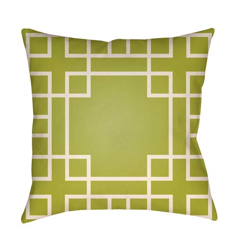 Artistic Weavers Litchfield Hanser Lime Green and Ivory 26 x 26 In. Pillow with Poly Fill
