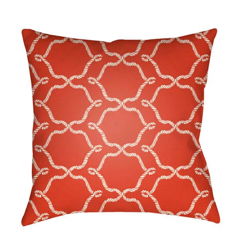 Litchfield Conway Poppy Red and Ivory 20 x 20 In. Pillow with Poly Fill