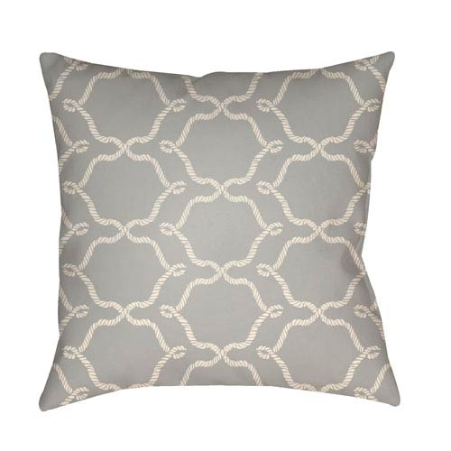 Artistic Weavers Litchfield Conway Gray and Ivory 26 x 26 In. Pillow with Poly Fill