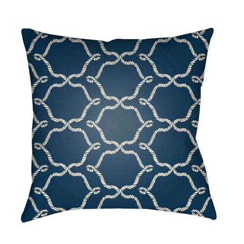 Artistic Weavers Litchfield Conway Navy Blue and Ivory 16 x 16 In. Pillow with Poly Fill
