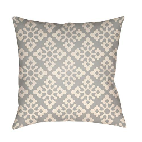 Artistic Weavers Litchfield Ladson Gray and Ivory 16 x 16 In. Pillow with Poly Fill