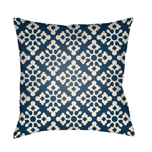 Artistic Weavers Litchfield Ladson Navy Blue and Ivory 26 x 26 In. Pillow with Poly Fill