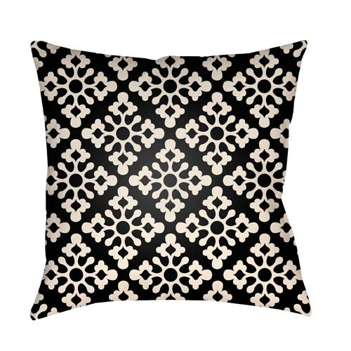 Artistic Weavers Litchfield Ladson Onyx Black and Ivory 18 x 18 In. Pillow with Poly Fill