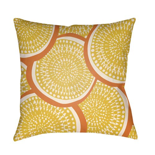 Litchfield Summerville Bright Yellow and Ivory 22 x 22 In. Pillow with Poly Fill