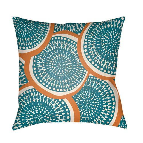 Artistic Weavers Litchfield Summerville Teal and Ivory 22 x 22 In. Pillow with Poly Fill