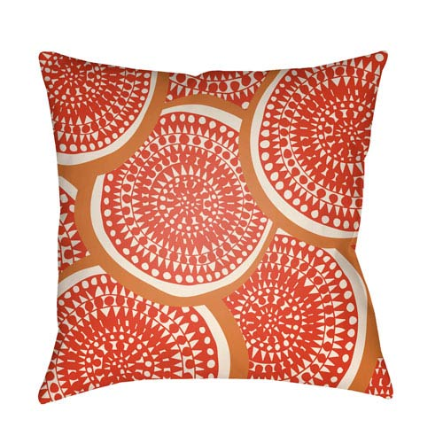 Artistic Weavers Litchfield Summerville Poppy Red and Ivory 26 x 26 In. Pillow with Poly Fill