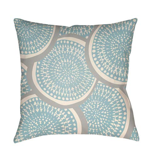 Artistic Weavers Litchfield Summerville Light Blue and Ivory 26 x 26 In. Pillow with Poly Fill