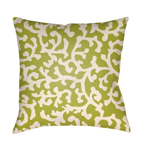 Artistic Weavers Litchfield Lumberton Lime Green and Ivory 20 x 20 In. Pillow with Poly Fill