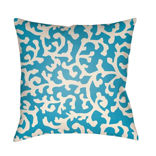 Artistic Weavers Litchfield Lumberton Aqua and Ivory 16 x 16 In. Pillow with Poly Fill