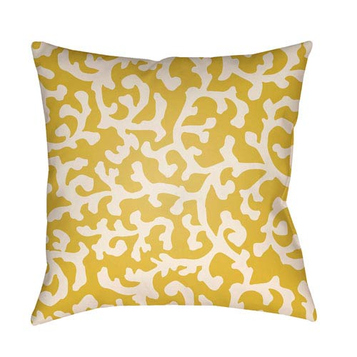 Artistic Weavers Litchfield Lumberton Bright Yellow and Ivory 22 x 22 In. Pillow with Poly Fill