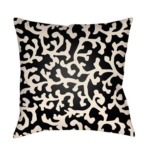 Artistic Weavers Litchfield Lumberton Onyx Black and Ivory 26 x 26 In. Pillow with Poly Fill