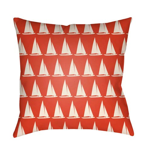 Artistic Weavers Litchfield Sumter Poppy Red and Ivory 16 x 16 In. Pillow with Poly Fill