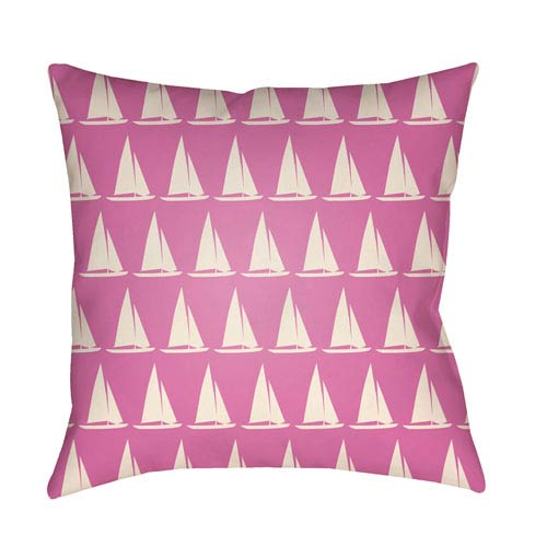 Litchfield Sumter Fuchsia and Ivory 20 x 20 In. Pillow with Poly Fill