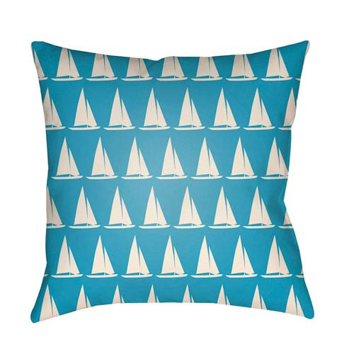 Artistic Weavers Litchfield Sumter Aqua and Ivory 16 x 16 In. Pillow with Poly Fill