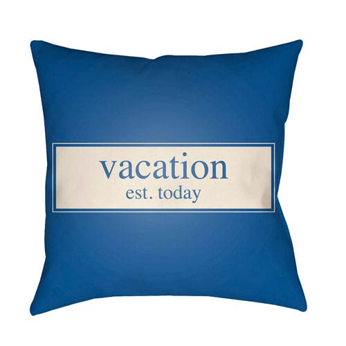 Artistic Weavers Litchfield Vacation Royal Blue and Ivory 20 x 20 In. Pillow with Poly Fill